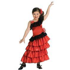 Flamenco Dancer Costume - Kids, Girl's, Size: M, Black/Red