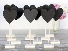Wedding Table Number Chalkboard Heart Signs