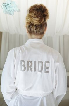 There's a good chance this isn't worth the work but maybe. Check out this detailed, step by step tutorial for making iron-on letters to make your own diy bride robes, you can make them for the entire bridal party! Wedding Crafts, Diy Wedding, Dream Wedding, Wedding Day, Wedding Attire, Wedding Things, Wedding Favors, Wedding Decor, Wedding Ceremony