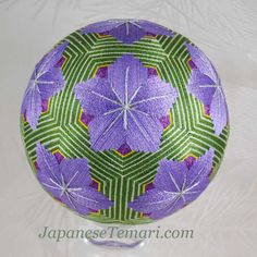Vintage Japanese Temari lavender flowers C10  the fineness of the stitches is extraordinary
