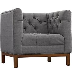 Midcentury Modern Modway Panache Fabric Armchair, Gray