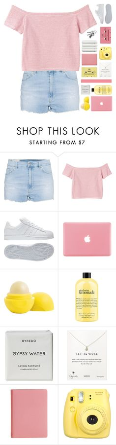"""""""take a sip of my secret potion"""" by yeshi2003 ❤ liked on Polyvore featuring Dondup, Monki, adidas, Eos, philosophy, Byredo, Dogeared, CASSETTE and Linum Home Textiles"""