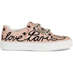 Roger Vivier - Sneaky Viv' Love Paris in Leather (28,150 MXN) ❤ liked on Polyvore featuring shoes, sneakers, pink, leather shoes, pull on sneakers, leather slip on shoes, pink shoes and buckle shoes