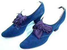 Antique Dress - Item for Sale  #6043 - c. 1911 Edwardian Dark Royal Blue Suede Shoes with Original Ribbons!