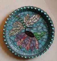 dragonfly mosaic birdbath