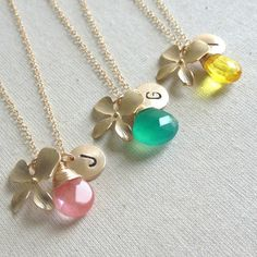 Bridesmaid  Necklaces Set Of 3 Bridesmaids by anatoliantaledesign