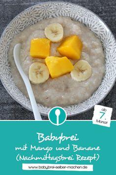"""Soooo lecker: Babybrei mit Mango und Banane! Dieser Nachmittagsbrei ist für Babys ab dem 7. Monat geeignet und """"ratz fatz"""" zubereitet."""