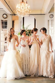 Long lace ivory bridesmaid dresses!!