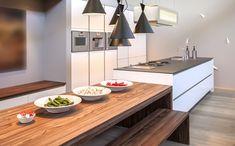 Wooden table attached to an island Kitchen With Long Island, Long Kitchen, New Kitchen, Kitchen Dining, Kitchen Decor, Kitchen Ideas, Interior Design Kitchen, Interior Design Living Room, Beach House Decor