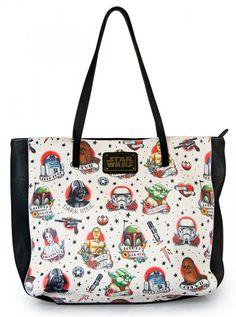 """Star Wars Tattoo Flash"" Tote Bag by Loungefly (Biege)"