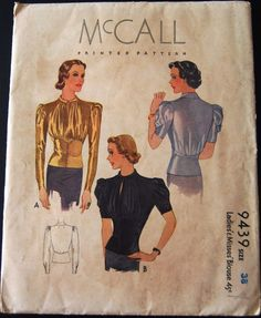 Vintage Original McCall 30's Blouse Pattern No. 9439