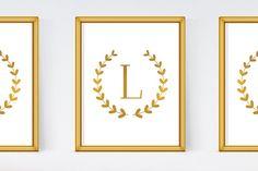 Letter L Monogram. INSTANT DOWNLOAD. Printable Wall Art. Nursery decor. Digital print. Gold foil poster.