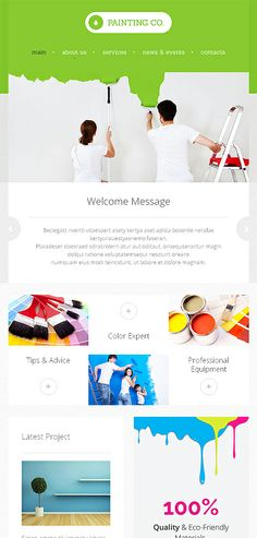 Website Template - Great site for painters. Layout Design, Web Design, Paint Companies, Layout Inspiration, Business Website, Website Template, Painters, Inspirational, Templates