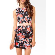 FOREVER 21 Floral Print Peplum Sheath Dress ($25) ❤ liked on Polyvore