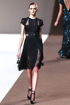 Elie Saab Fall 2010 RTW Button Bodice Capsleeve Lace Inset Dress Photograph