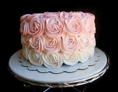 Pink Ombre Rose Cake. Bridesmaids get their own cake for cake charm pull.