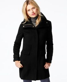Kenneth Cole Seamed Hooded Babydoll Coat