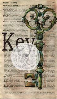 "Miniature (4"" x 7""), Mixed Media Drawing ""Key"" on Distressed, Dictionary Page - flying shoes art studio"