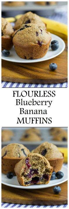 Healthy Flourless Blueberry Banana Muffins are a wholesome treat to enjoy for breakfast or a snack. They're made easy in a blender and are gluten-free, oil-free,  dairy-free and refined sugar-free!