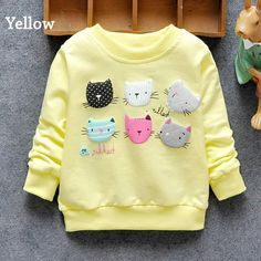 2017 New Arrival Baby Girls Sweatshirts Winter Spring Autumn sweater cartoon 6 Cats long sleeve T-shirt Character kids clothes - Kid Shop Global - Kids & Baby Shop Online - baby & kids clothing, toys for baby & kid Stylish Baby Clothes, Baby Kids Clothes, Pinterest Baby, Cute Cat Face, La Girl, Baby Pullover, Baby Shop Online, Spring Shirts, Baby Winter