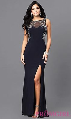 Shop navy blue long formal designer prom dresses at PromGirl. Junior-size jersey evening gowns with jewel accents, side slits and sheer backs. Gala Dresses, Prom Dresses Blue, Evening Dresses, Floral Print Gowns, Printed Gowns, Designer Evening Gowns, Designer Prom Dresses, Elegant Dresses For Women, Beautiful Dresses