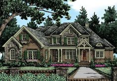 Willingham Manor - Home Plans and House Plans by Frank Betz Associates. Change keeping room to porch Cottage House Plans, Cottage Homes, House Floor Plans, Sims 4 Houses, Tiny Houses, Frank Betz, Harris House, French Country House Plans, Luxury House Plans