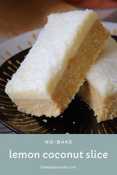 No-Bake Lemon & Coconut Slice This new and improved Lemon & Coconut Slice recipe is absolutely perfect! A beautiful tangy base topped with a creamy lemon frosting. it seriously doesn't get any better than this! Lemon Coconut Slice, Coconut Icing, No Bake Lemon Slice, Tray Bake Recipes, Baking Recipes, Cookie Recipes, Köstliche Desserts, Dessert Recipes, No Bake Slices