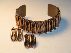 Vintage mid century Renoir copper cuff and earring set.