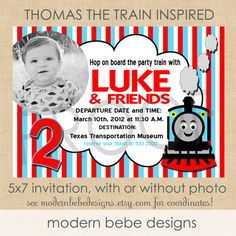Thomas the Train Inspired Invitation by by ModernBebeDesigns, $15.00