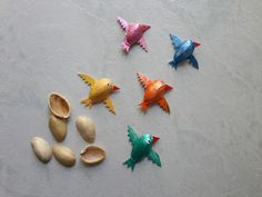 """Do you have a crafty kid? Nurture his creative spirit with these fun ideas for making. With just a few inexpensive crafts supplies, you'll be """"How to make pista shell birds"""" Painting Shelves, Diy Wall Painting, Painting Trim, Painting Rugs, Painting Doors, Room Paint Colors, Interior Paint Colors, Paint Colors For Living Room, Interior Painting"""