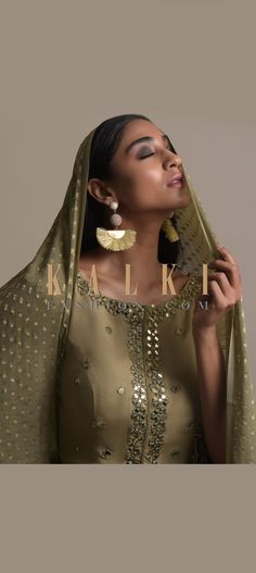 Buy Online from the link below. We ship worldwide (Free Shipping over US$100)  Click Anywhere to Tag Gold-Beige-Earrings-With-Pearl-And-Dangling-Chain-Embellished-Sphere-And-Fringed-Semicircle--Online-Kalki-Fashion Indian Dresses, Indian Outfits, Party Wear Dresses, Wedding Dresses, Free Shipping, Pearls, Chain, Link