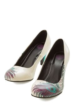 Proudly Posh Heel. Banish the bashful wardrobe 'blahs' with these breathtakingly vibrant pumps from T.U.K.! #cream #modcloth