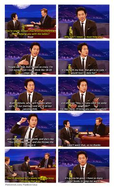 Steven Yeun on Conan. He can cook spaghetti for my daughter anytime :)