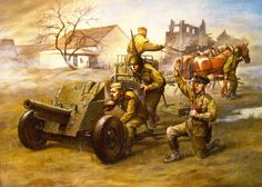artillery wwii painting - Bing Obrazy