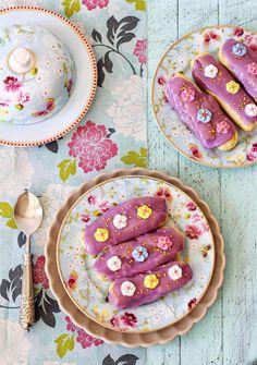 Postreadicción galletas decoradas, cupcakes y pops: Eclairs de violeta