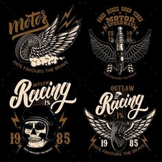 Set of Racer Emblem Templates with Motorcycle Biker Tattoos, Motorcycle Tattoos, Motorcycle Paint Jobs, Motorcycle Art, Motor Logo, Diy Go Kart, Custom Paint Jobs, Retro Logos, Bike Design
