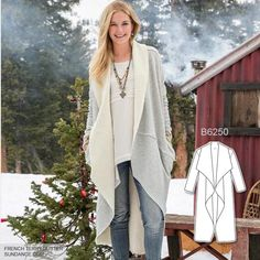 Must have: a cozy long cardigan made from French terry. Sew the look with Butterick B6250 sewing pattern.
