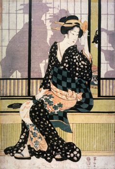 Kikugawa Eizan 英山 middle panel from the triptych Three Elegant Beauties Cooling of in the Evening -full- Traditional Japanese Art, Japanese Modern, Japanese Prints, Vintage Japanese, Geisha, Japan Illustration, Japanese Painting, Modern Prints, Woodblock Print
