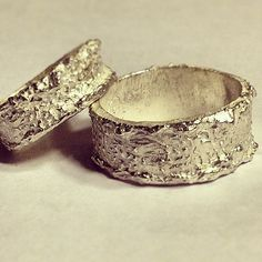 "Modern wedding rings/Eco friendly Wedding Band Set Modern industrial NATURAL silver ""Edgewater"" band unisex His and Hers"