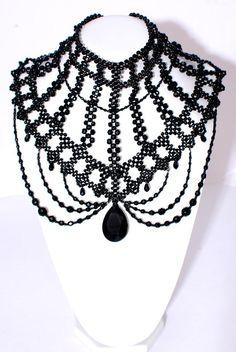 beautiful black beaded choker <3