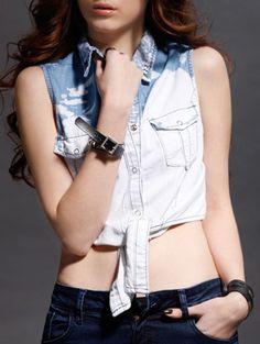 Crop Tops   Stylish Bleach Wash Tied Women's Denim Crop Top #fashion #denim #croptop