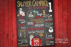 Rustic Farm Birthday Party  Chalk Board by ASweetLifeDesigns