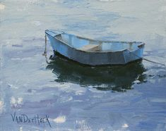 Lounging Around - Original Oil Painting of a Blue Boat on the Ocean - Boat Painting - Sea Painting. $450.00, via Etsy.