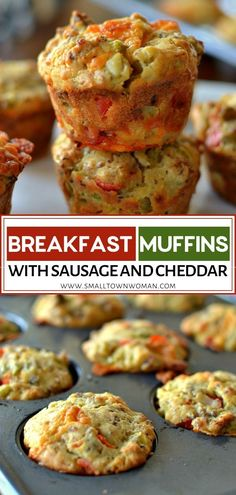 Savory muffins for breakfast loaded with pork sausage sweet red bell peppers green chiles and sharp cheddar! This hearty and filling recipe can be prepared ahead of time and then popped into the microwave for a quick reheat. Save this pin for later! Easy To Make Breakfast, Breakfast On The Go, Savory Breakfast, Breakfast Muffins, Perfect Breakfast, Breakfast Items, Overnight Breakfast, Breakfast Dishes, Breakfast Casserole