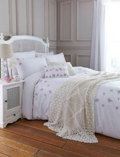 """Rose"" white bedroom sheets with pink flowers by Shabby Chic from Rachel Ashwell."