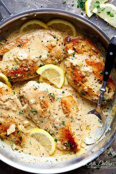 Lemon Chicken Scallopini with Lemon Garlic Cream Sauce - Cafe Delites