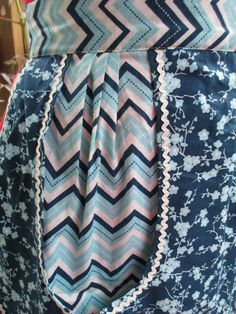 Blue Floral Half Apron by graverobbergirl on Etsy (Home & Living, Kitchen & Dining, Linens, Aprons, half apron, apron, retro, pocket, blue, chevron, floral, navy, rick rack)