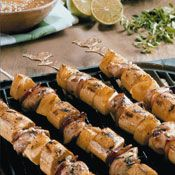 Grilled Chicken, Plantain and Pineapple Skewers Recipe