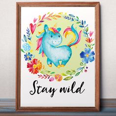 Stay wild Woodland print Nursery Decor Unicorn wall by AlniPrints