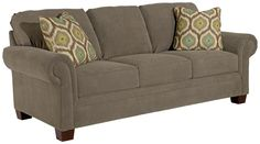 Choices Upholstery 87 Inch Standard Sofa with Panel Arm, Boxed Border Semi-Attached Back & Wedge Foot Base by Broyhill Furniture - Becker Furniture World - Sofa Twin Cities, Minneapolis, St. Paul, Minnesota